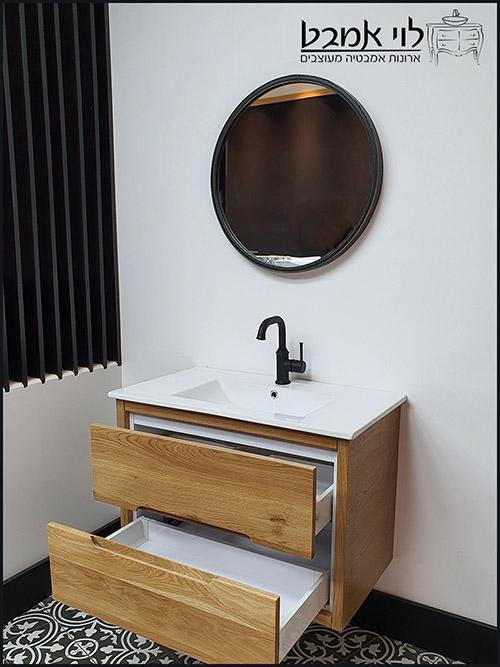 ארון-אמבטיה-אדל-100-סמ-תלוי-צבע-לבן-ארונות-אמבטיה פתוח